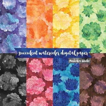 Watercolor Digital Paper Pack, Succulent Flowers