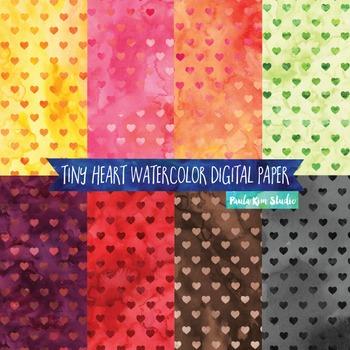 Watercolor Digital Paper Pack, Tiny Hearts