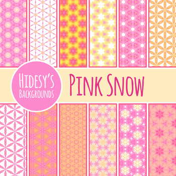 Watercolor Digital Paper - Pink Snowflakes Backgrounds / Patterns Clip Art