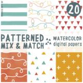 Watercolor Patterns Digital Paper Set