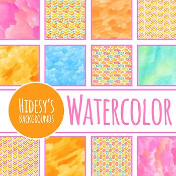 Watercolor Digital Paper - Summer Sherbet Background / Texture Clip Art