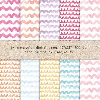 Watercolor Digital Paper, Watercolor Pattern, Pastel Colors, Backgrounds (2)