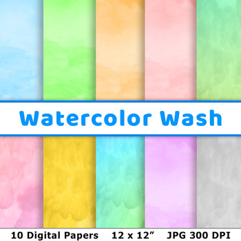 Watercolor Digital Paper, Watercolor Wash Texture, Painted Gradient Background