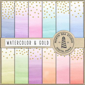 Watercolor Digital Paper With Gold Confetti