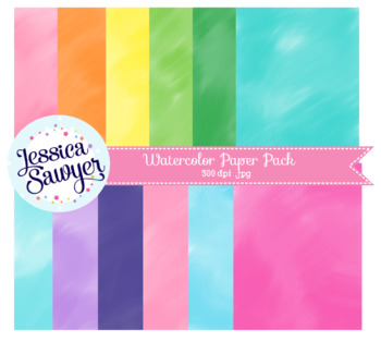 Watercolor Digital Paper or Backgrounds