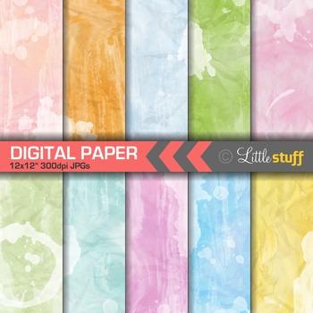 Watercolor Digital Papers, Crumpled Watercolor Paper Digital Backgrounds