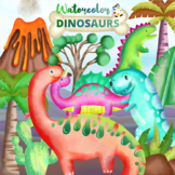 Watercolor Dinosaur ClipArt Collection
