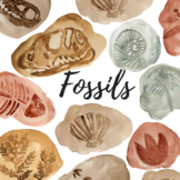 Watercolor Dinosaur Fossil Clipart
