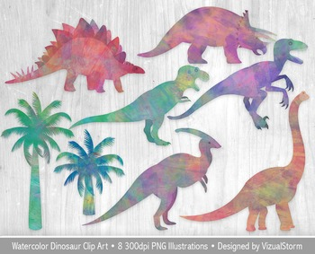 Watercolor Dinosaurs and Palm Trees Clipart, 8 Hand Drawn