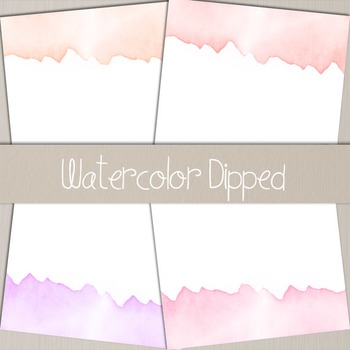 Watercolor Dipped Papers and Borders