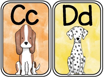 Watercolor Dog Alphabet Posters