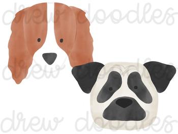 Watercolor Dog Heads Digital Clip Art Set