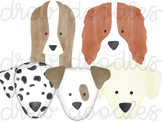 Watercolor Dog Heads Digital Clip Art Set