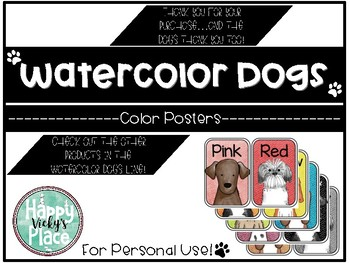 Watercolor Dog Theme Color Posters