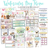 Watercolor Dogs Classroom Decor Pack | EDITABLE