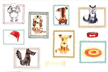 Watercolor Dogs Clip Art Set
