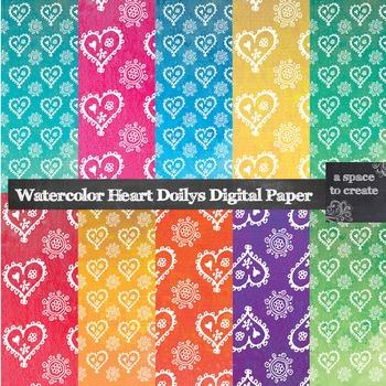 Watercolor Doily Heart Digital Paper
