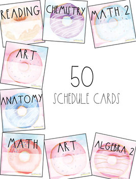 Watercolor Donut Schedule Square Cards