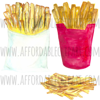 Hand Painted French Fries Clipart
