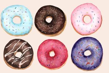 Watercolor Donuts Clip Art Set