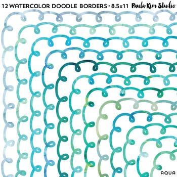 Borders Aqua Watercolor Doodle