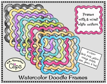 Watercolor Doodle Frames and Chevron Papers