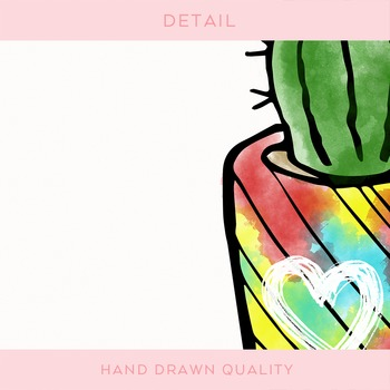 Watercolor Doodled Cactus Set
