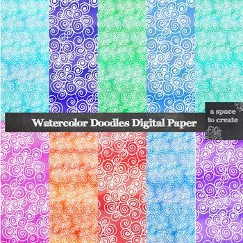 Watercolor Doodles Digital Paper