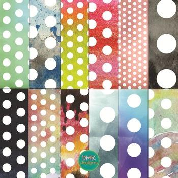 Digital Paper Set- Watercolor Polka Dots