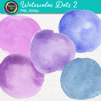 Watercolor Dots Clip Art {Hand-Painted Watercolor Textures in Cool Colors} 2