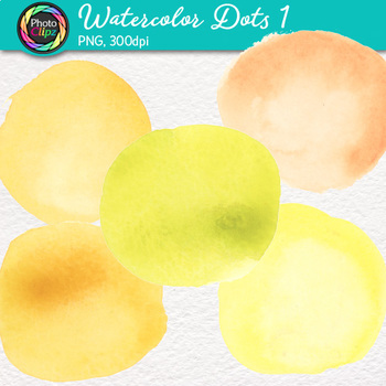 Watercolor Dots Clip Art {Hand-Painted Watercolor Textures in Warm Colors} 1