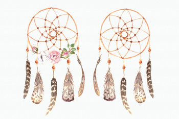 Watercolor Dreamcatcher & Teepee Clip Art Set