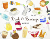 Watercolor Driks & Beverage Clipart, Drinks Clipart, Drink