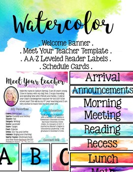 Watercolor EDITABLE Items (library labels, schedule cards and MORE!)