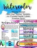 Watercolor EDITABLE Items (library labels, schedule cards