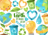 Watercolor Earth Friendly Clipart
