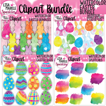 Easter Bunny Easter Eggs Clipart Watercolor BUNDLE