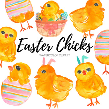 Watercolor Easter Chick Clip art set
