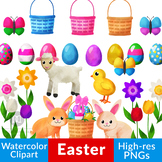 Watercolor Easter Clipart, Easter Bunny, Easter Eggs, Wate