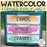 Watercolor Editable 3 Drawer Sterilite Labels