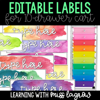 Watercolor Editable Labels for 10 Drawer Cart