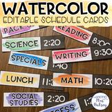 Watercolor Editable Schedule Cards