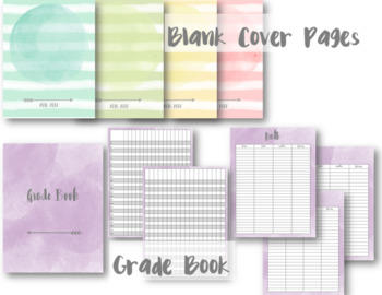 Watercolor Editable Teacher Lesson Planner / Binder 2017-2018