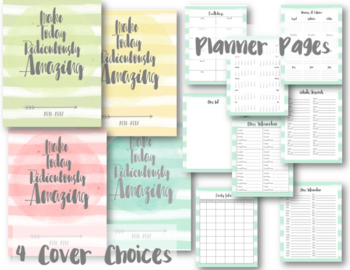 Watercolor Editable Teacher Lesson Planner / Binder 2017-2018