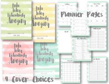 Watercolor Editable Teacher Lesson Planner / Binder 2018-2019