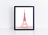 Watercolor Eiffel Tower Printable in Multiple Colors // Cl