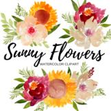 Watercolor Elegant Flower Clip Art Set