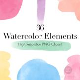 Watercolor Elements Clipart, Watercolor Shapes, Watercolor Blobs