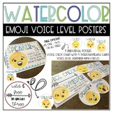 Watercolor Emoji Voice Level Posters, Interchangeable Chart, and Mini Circles