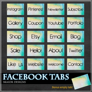 Watercolor Facebook Tabs FB Icons Water Color Timeline
